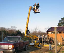 Cherry picker fun.